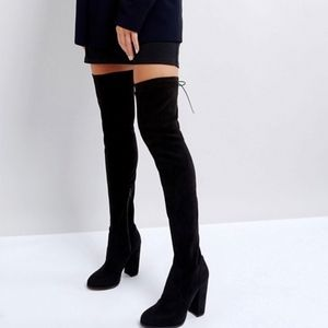 ASOS BLACK FAUX SUEDE HEELED OVER THE KNEE BOOTS